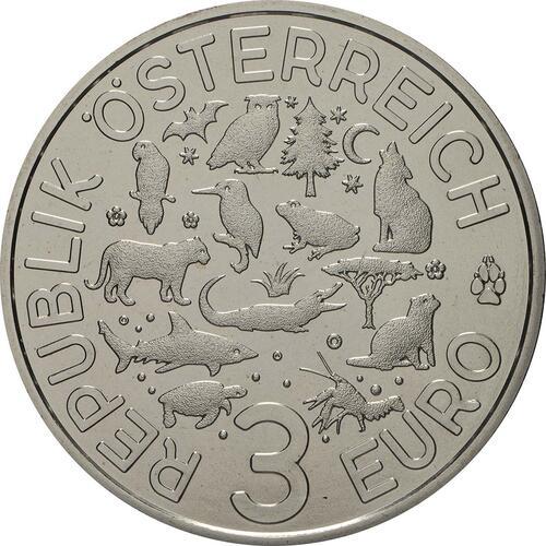 Rückseite:Österreich : 3 Euro Frosch 9/12  2018 Stgl.
