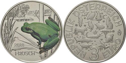 Lieferumfang:Österreich : 3 Euro Frosch 9/12  2018 Stgl.