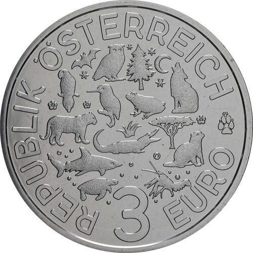 Rückseite:Österreich : 3 Euro Schildkröte 10/12  2019 Stgl.