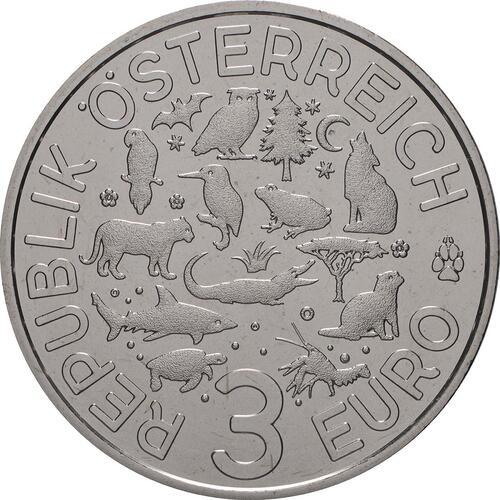Rückseite:Österreich : 3 Euro Fischotter 11/12  2019 Stgl.