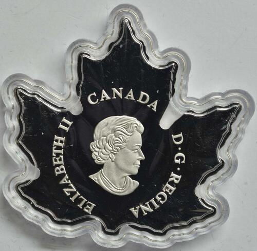 "Rückseite:Kanada : 10 Dollar Maple Leaf ""Canadagans"" in Blattform  2016 PP"