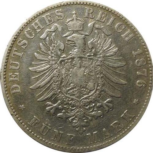 Rückseite:Deutschland : 5 Baden Friedrich I  1876 s/ss.