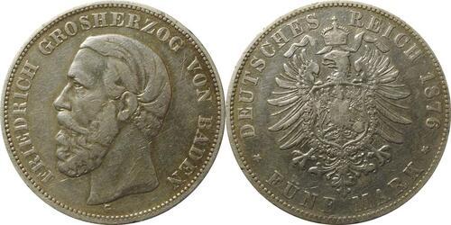 Lieferumfang:Deutschland : 5 Baden Friedrich I  1876 s/ss.