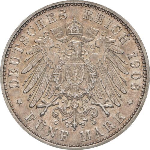 Rückseite:Deutschland : 5 Mark Friedrich u. Luise winz. Kratzer, winz. Rs., patina 1906 vz/Stgl.