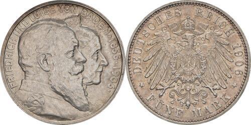 Lieferumfang:Deutschland : 5 Mark Friedrich u. Luise winz. Kratzer, winz. Rs., patina 1906 vz/Stgl.