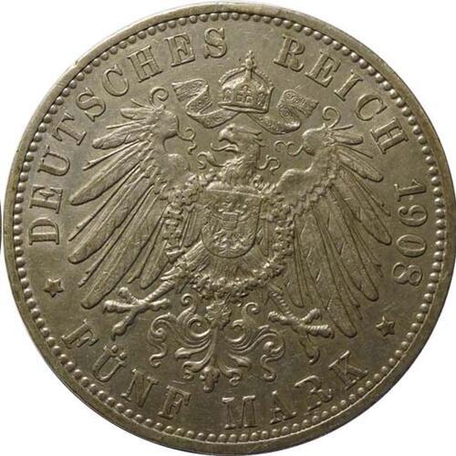 Rückseite :Deutschland : 5 Mark Friedrich II patina 1908 ss/vz.