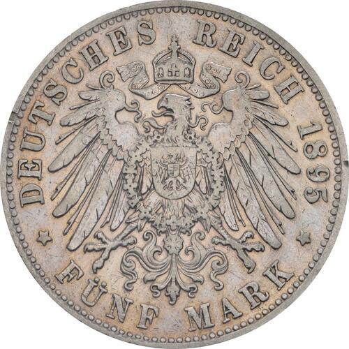 Rückseite:Deutschland : 5 Mark Otto winz. Rs. 1895 f.ss