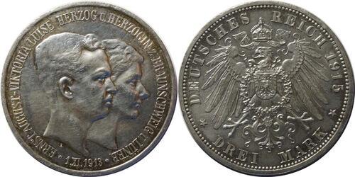Lieferumfang:Deutschland : 3 Mark Ernst August und Viktoria  1915 vz.