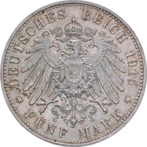 Rückseite:Deutschland : 5 Mark Ernst August und Viktoria patina 1915 vz/Stgl.