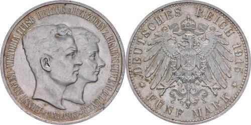 Lieferumfang:Deutschland : 5 Mark Ernst August und Viktoria patina 1915 vz/Stgl.