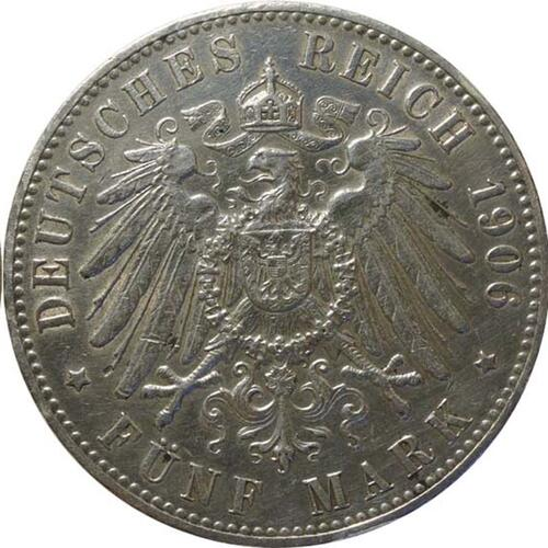Rückseite:Deutschland : 5 Mark Stadtwappen winz. Rs. 1906 vz.