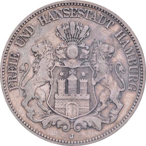 Vorderseite:Deutschland : 5 Mark Stadtwappen  1876 s/ss.