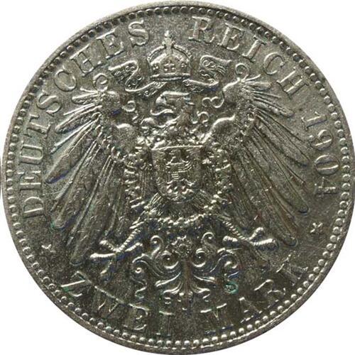Rückseite:Deutschland : 2 Mark Otto  1904 ss.