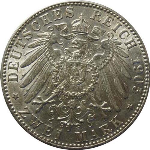 Rückseite:Deutschland : 2 Mark Otto  1905 ss.