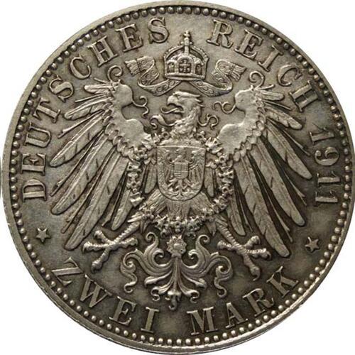 Rückseite:Deutschland : 2 Mark Luitpold patina 1911 vz/Stgl.