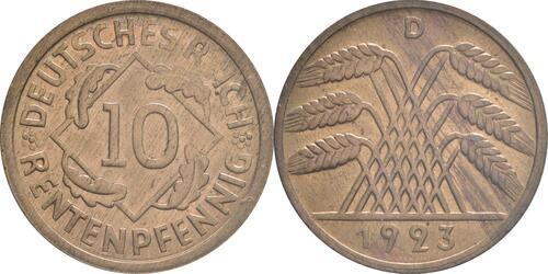 Lieferumfang :Deutschland : 10 Rentenpfennig Kursmünze patina 1923 Stgl.