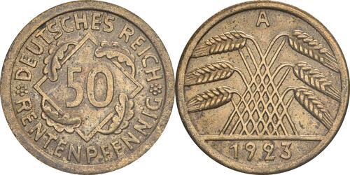 Lieferumfang:Deutschland : 50 Rentenpfennig Kursmünze  1923 ss/vz.