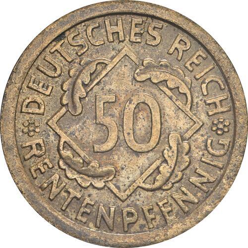 Vorderseite :Deutschland : 50 Rentenpfennig Kursmünze  1923 ss/vz.