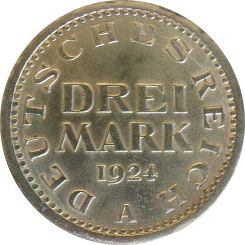 Vorderseite:Deutschland : 3 Reichsmark Kursmünze  1924 vz.