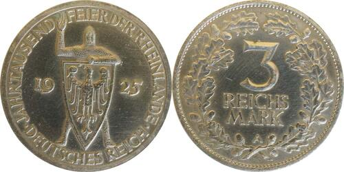 Lieferumfang :Deutschland : 3 Reichsmark Rheinlande  1925 ss.