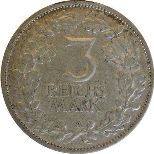 Rückseite:Deutschland : 3 Reichsmark Rheinlande  1925 ss.