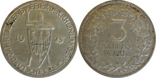 Lieferumfang:Deutschland : 3 Reichsmark Rheinlande  1925 ss.