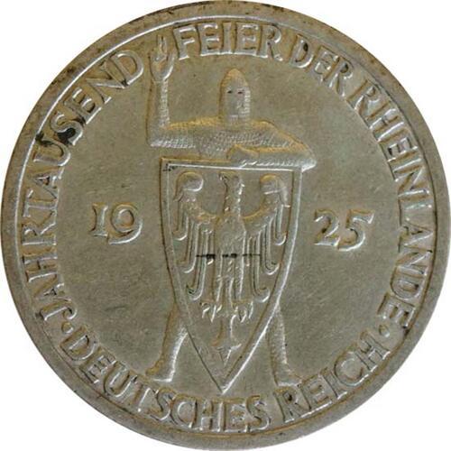 Vorderseite:Deutschland : 3 Reichsmark Rheinlande  1925 ss.