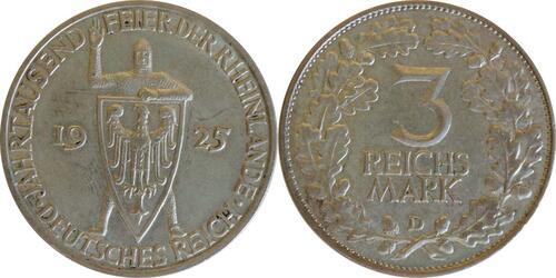 Lieferumfang :Deutschland : 3 Reichsmark Rheinlande  1925 vz.