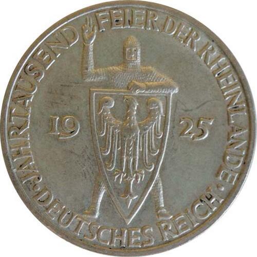 Vorderseite :Deutschland : 3 Reichsmark Rheinlande  1925 vz.