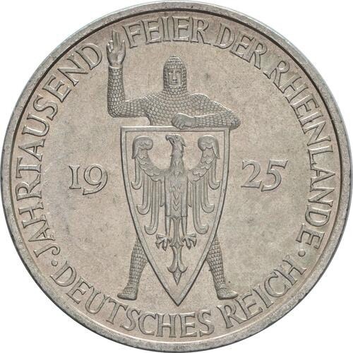 Rückseite:Deutschland : 5 Reichsmark Rheinlande  1925 vz.