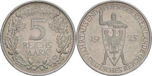 Lieferumfang:Deutschland : 5 Reichsmark Rheinlande  1925 vz.