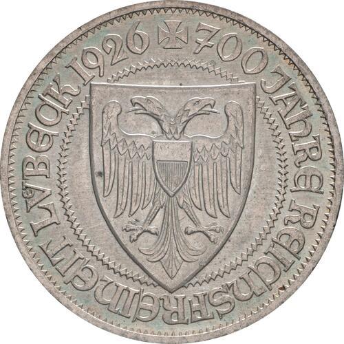 Rückseite:Deutschland : 3 Reichsmark Lübeck patina 1926 vz.