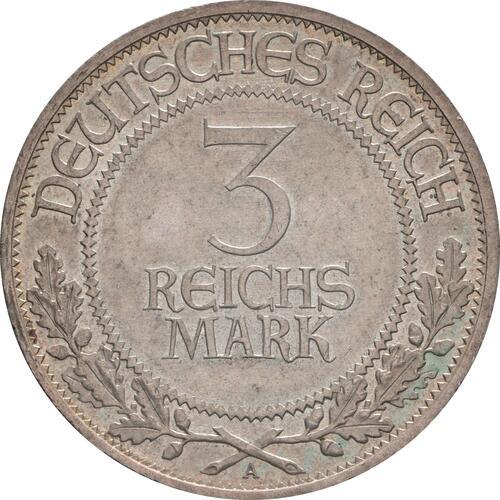 Vorderseite:Deutschland : 3 Reichsmark Lübeck patina 1926 vz.