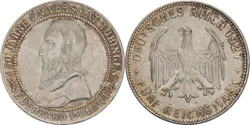 deutschland 5 reichsmark tuebingen kratzer 1927 silber stgl 391 euro. Black Bedroom Furniture Sets. Home Design Ideas
