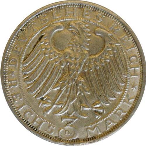 Rückseite:Deutschland : 3 Reichsmark Dürer winz. Rs. 1928 vz.
