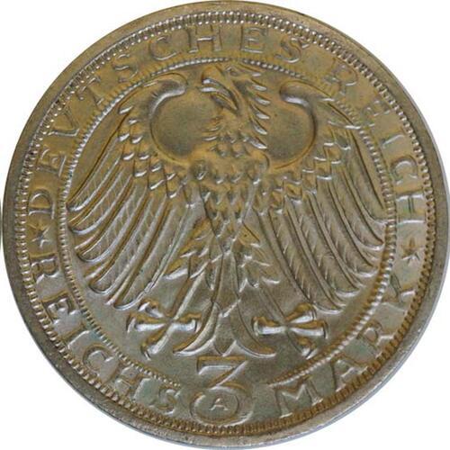 Rückseite:Deutschland : 3 ReichsmarkReichsmark Naumburg  1928 vz/Stgl.