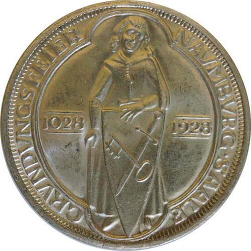 Vorderseite:Deutschland : 3 ReichsmarkReichsmark Naumburg  1928 vz/Stgl.