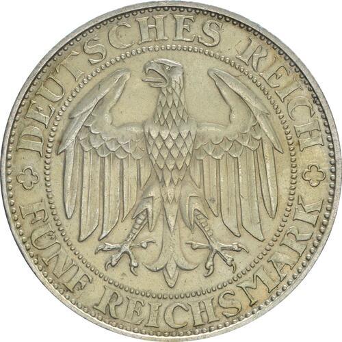 Rückseite:Deutschland : 5 Reichsmark Meißen patina 1929 vz.