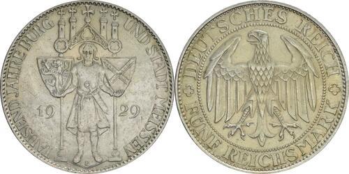 Lieferumfang:Deutschland : 5 Reichsmark Meißen patina 1929 vz.