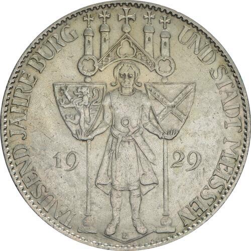 Vorderseite:Deutschland : 5 Reichsmark Meißen patina 1929 vz.