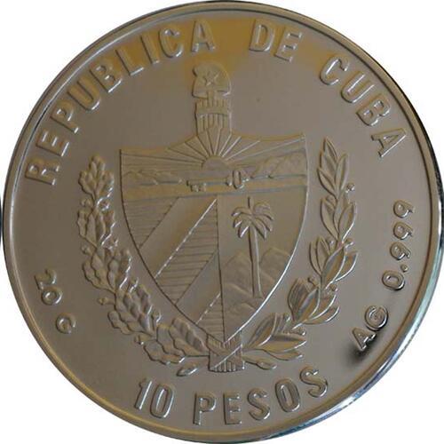 Rückseite :Kuba : 10 Pesos Dauphine - Vespucci  1996 PP