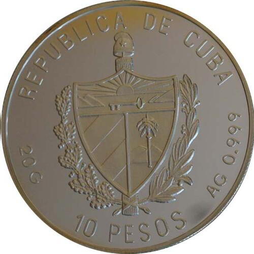 Rückseite:Kuba : 10 Pesos Schiff  1992 PP