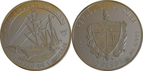 Lieferumfang:Kuba : 10 Pesos Schiff  1992 PP