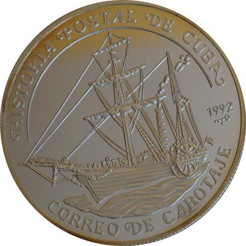 Vorderseite:Kuba : 10 Pesos Schiff  1992 PP