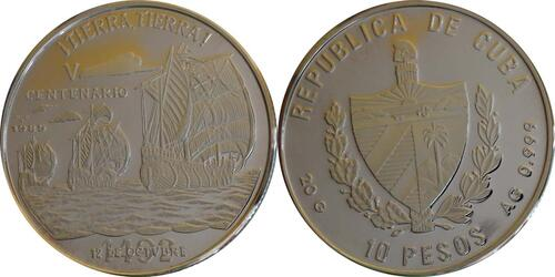 Lieferumfang :Kuba : 10 Pesos Discovery of America  1989 PP