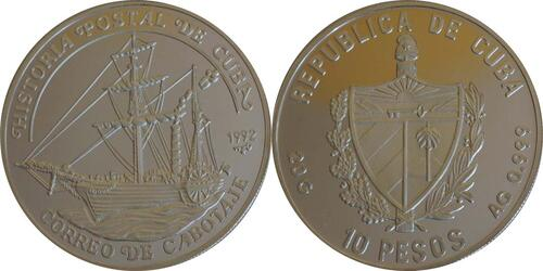 Lieferumfang:Kuba : 10 Pesos Segelschiff  1992 PP