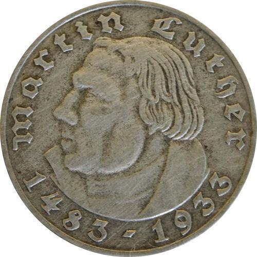 Vorderseite:Deutschland : 2 Reichsmark Luther  1933 ss.