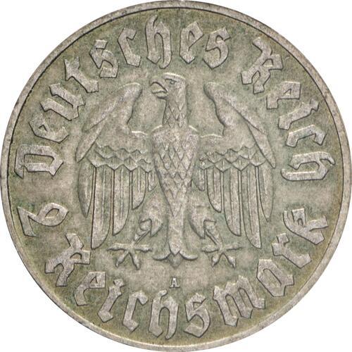 Rückseite:Deutschland : 2 Reichsmark Luther patina 1933 ss/vz.