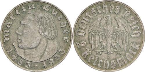 Lieferumfang:Deutschland : 2 Reichsmark Luther patina 1933 ss/vz.