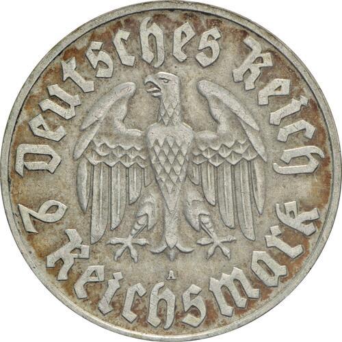 Rückseite:Deutschland : 2 Reichsmark Luther patina 1933 vz.